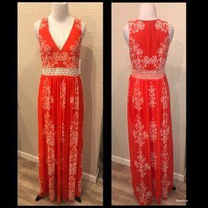 A.Calin by Flying Tomato orange Maxi dress sz med
